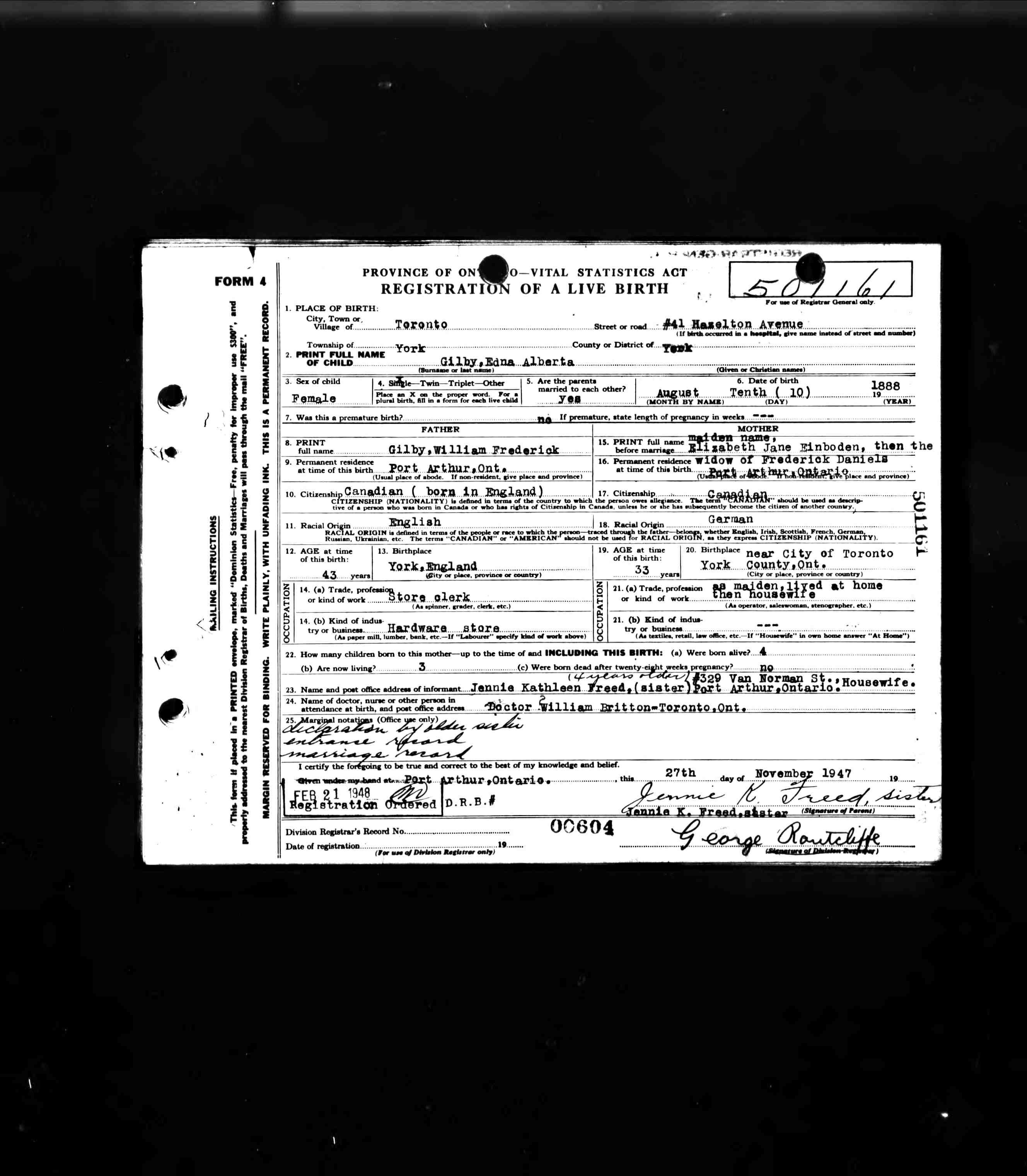 William frederick gilby edna alberta gilbys birth certificate aiddatafo Images