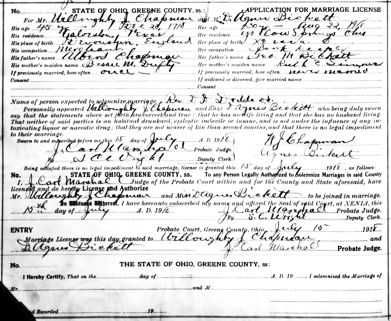Dora agnes bickett marriage license willoughby j chapman 45 galveston texas a merchant and d agness bickett 30 bookkeeper rev d d dodds aiddatafo Image collections