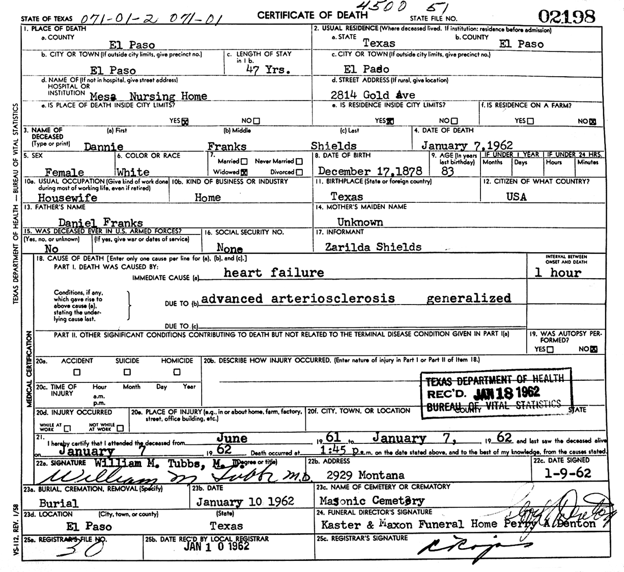 Daniel gandy franks dannie g franks shields death certificate 1betcityfo Images