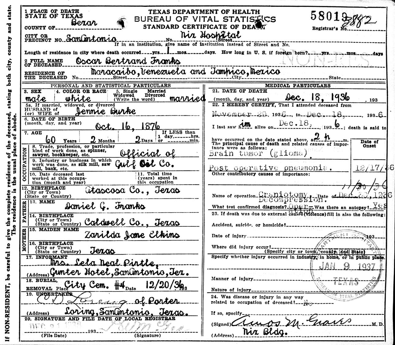 Daniel gandy franks oscar bertrand franks born october 16 1876 in pleasanton atascosa co tx died december 18 1936 at nix hospital san antonio bexar co tx age 60 aiddatafo Choice Image