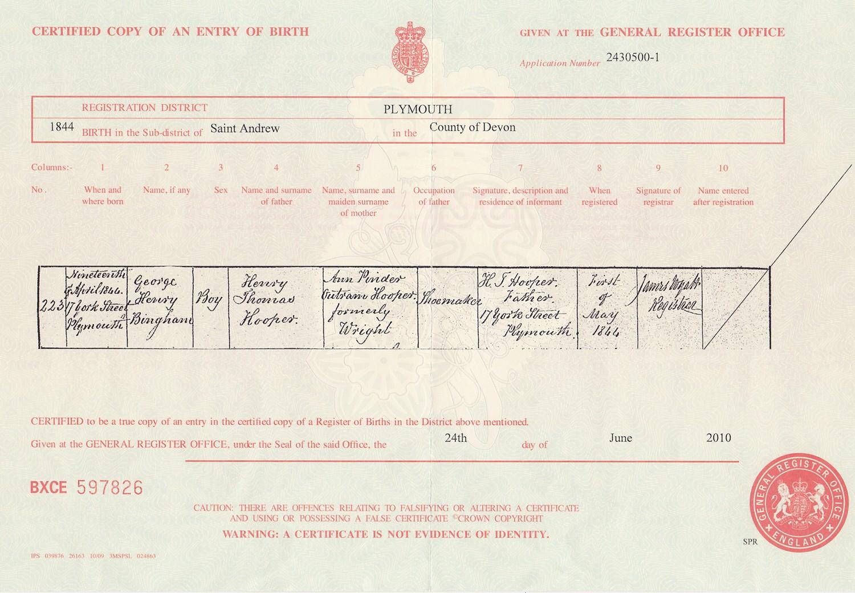 George henry bingham hooper george henry bingham hoopers birth certificate aiddatafo Image collections