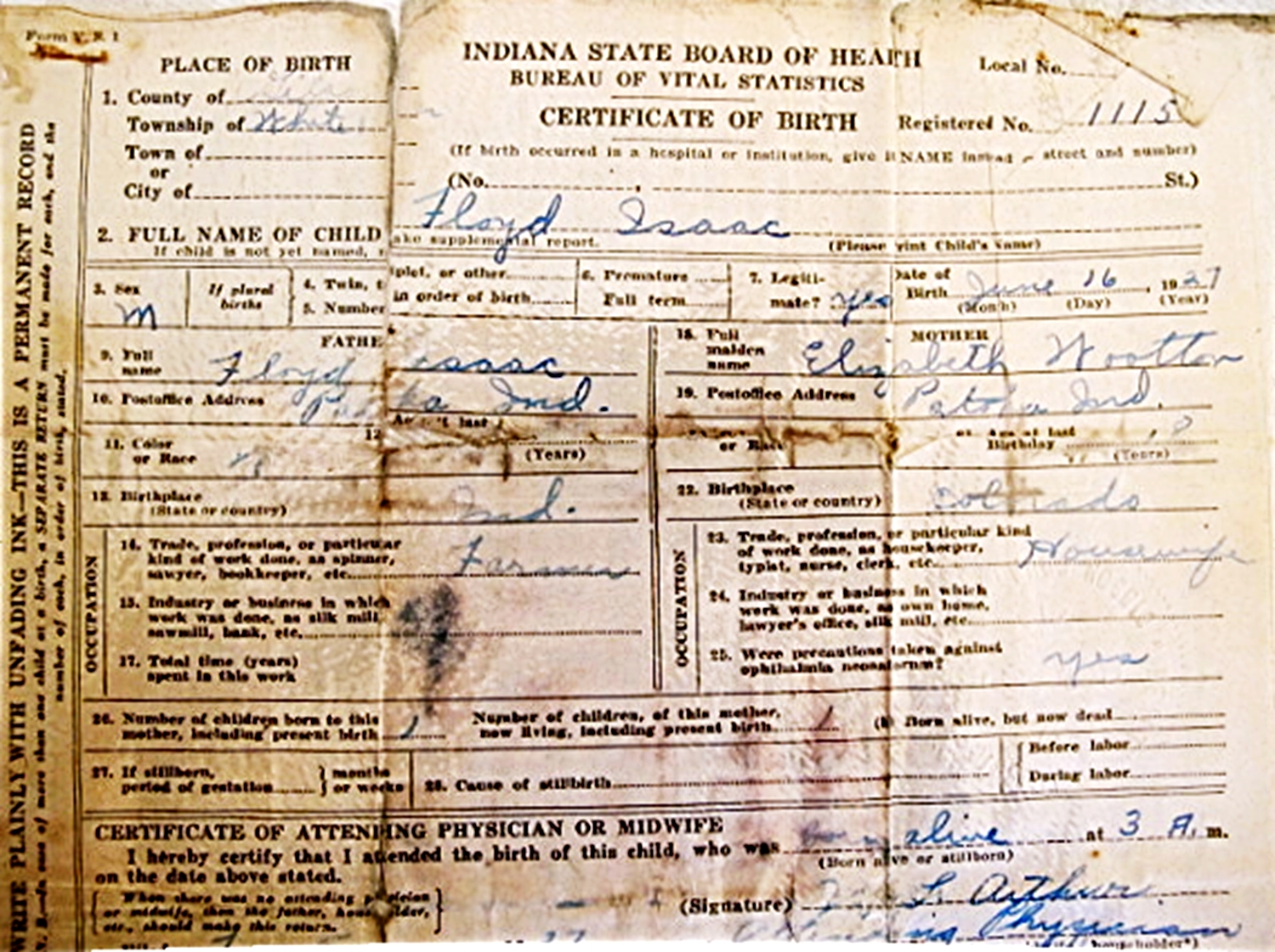 Lester a armstrong floyd isaac jr birth certificate aiddatafo Gallery