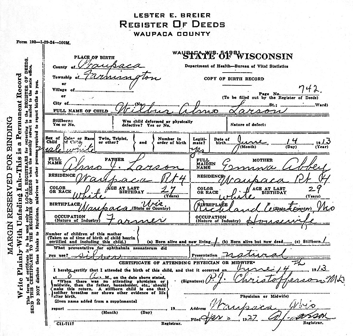 Wilbur almo larson wilbur almo bill larson birth certificate 1betcityfo Gallery