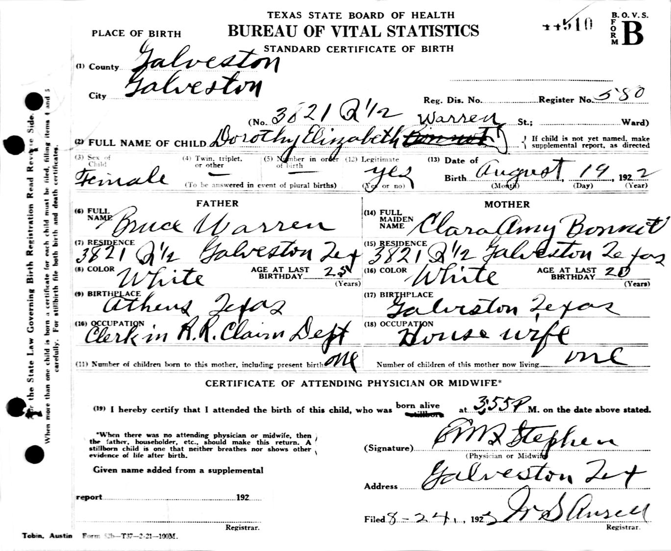 Robert alfred chapman dorothy elizabeth dot warren birth certificate aiddatafo Image collections